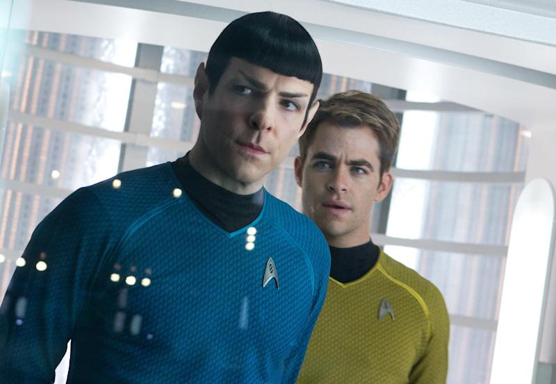 """This undated publicity film image released by Paramount Pictures shows, Zachary Quinto, left, as Spock and Chris Pine as Kirk in a scene in the movie, """"Star Trek Into Darkness,"""" from Paramount Pictures and Skydance Productions. Since premiering Wednesday, May 15, 2013 in huge-screen IMAX theaters and expanding Thursday to general cinemas, """"Into Darkness"""" has pulled in $84.1 million, well below distributor Paramount's initial forecast of $100 million. (AP Photo/Paramount Pictures, Zade Rosenthal)"""