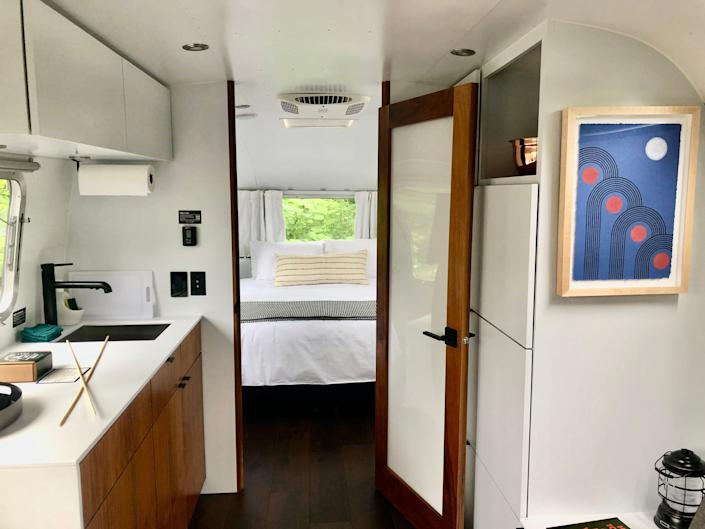 AutoCamp Cape Cod's custom-designed Airstreams have a separate bedroom, sitting area and kitchenette and bathroom.