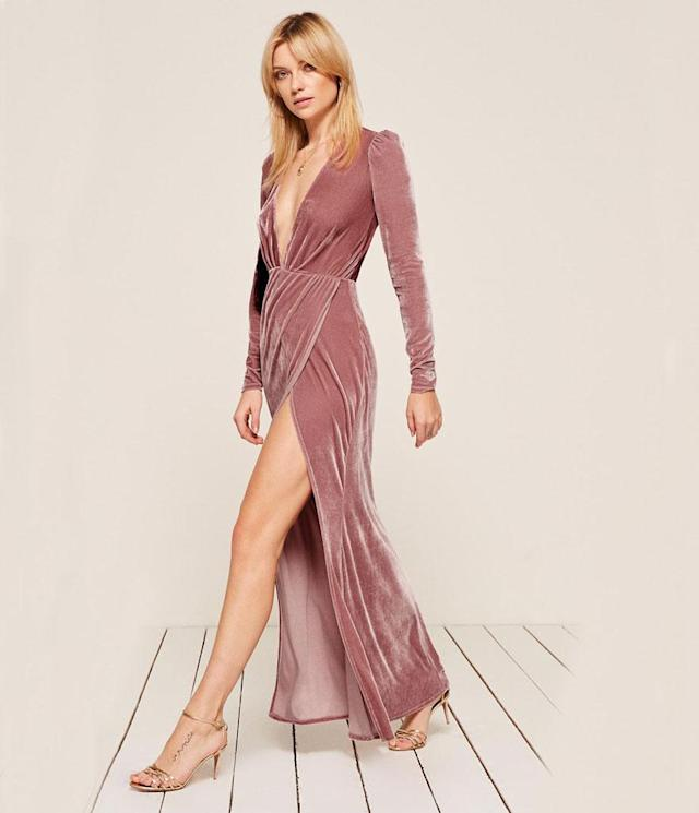 "<p>Onyx Dress, $148, <a href=""https://www.thereformation.com/products/onyx-dress-rosy"" rel=""nofollow noopener"" target=""_blank"" data-ylk=""slk:thereformation.com"" class=""link rapid-noclick-resp"">thereformation.com</a> </p>"
