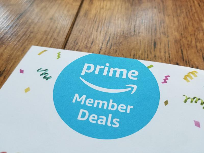 Close-up of logo for Amazon Prime deals on Prime Day, on a paper on a light wooden surface, San Ramon, California, July 18, 2018. (Photo by Smith Collection/Gado/Getty Images)