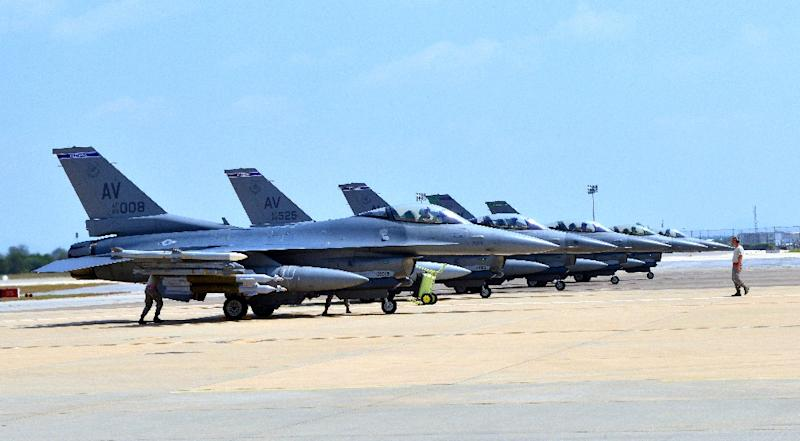This August 9, 2015 US Air Force photo shows F-16 Fighting Falcons from Aviano Air Base, Italy as they arrive at Incirlik Air Base, Turkey, in support of Operation Inherent Resolve