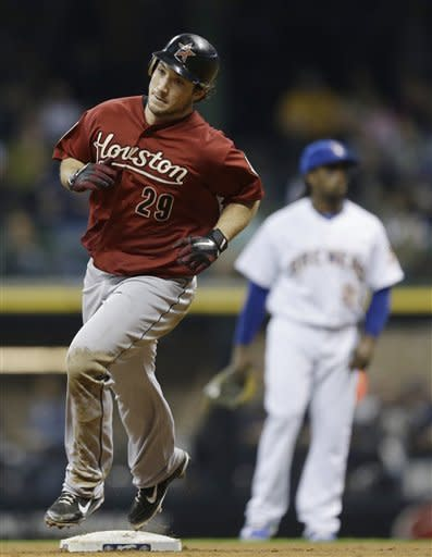 Houston Astros' Brett Wallace(29) rounds the bases after his home run against the Milwaukee Brewers during the fifth inning of a baseball game Friday, Sept. 28, 2012, in Milwaukee. (AP Photo/Jeffrey Phelps)