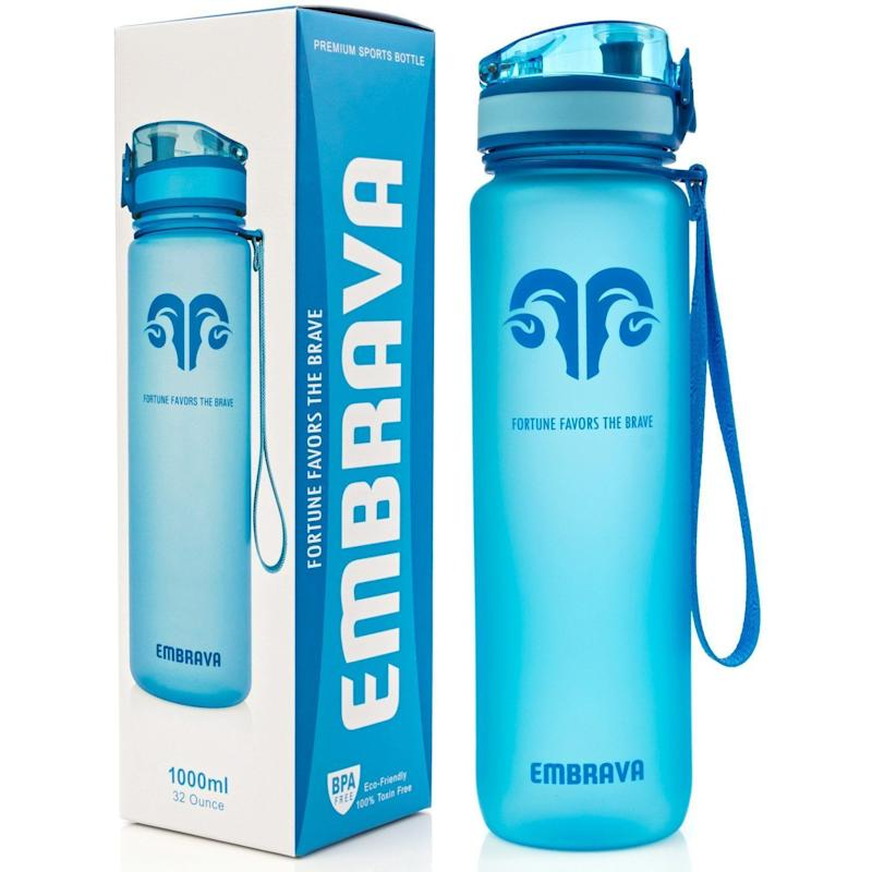 "With a tough carry-strap and a special reflective frosted casing that reacts uniquely to your environment, <a href=""https://www.amazon.com/Best-Sports-Water-Bottle-Eco-Friendly/dp/B01FSM3CZY/ref=sr_1_15?s=sporting-goods&ie=UTF8&qid=1518559576&sr=1-15&keywords=bpa+free+water+bottle"" target=""_blank"">this BPA-free bottle</a> is ideal for all kinds of sports and outdoor activities.<br /><br /><strong>Amazon Reviews:</strong> 3,388<br /><strong>Average Rating:</strong> 4.5 out of 5 stars<br /><br /><i>""The Embrava Sports Water Bottle is fantastic. I have a habit of tipping over my bottles causing a huge mess all over the floor. Not with this beautifully designed bottle. It doesn't leak at all. It has a lid that, when closed, seals the liquid in. The lid has a locking system that is really easy to use as well. It has a neat strainer that sits on the inside top for those that like to put fruit in their drinks so it never clogs."" - Amazon Reviewer</i>"