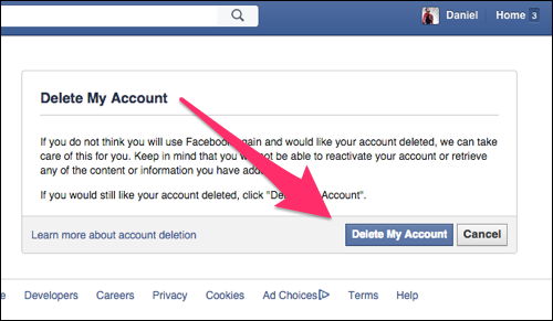 Help delete my account facebook