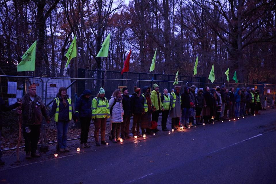 Climate activists protest outside the gates of the Horse Hill oil site in 2019.  (Sarah Finch )