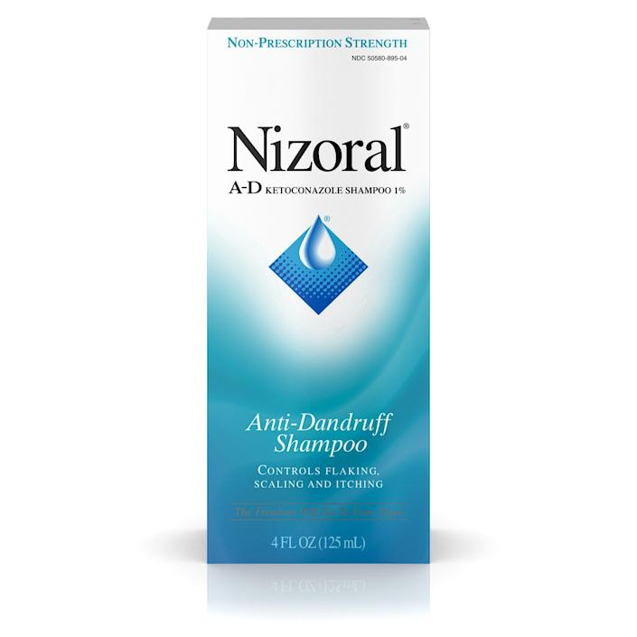 """<p><strong>Nizoral</strong></p><p>amazon.com</p><p><strong>$14.84</strong></p><p><a href=""""https://www.amazon.com/dp/B00AINMFAC?tag=syn-yahoo-20&ascsubtag=%5Bartid%7C10051.g.36740831%5Bsrc%7Cyahoo-us"""" rel=""""nofollow noopener"""" target=""""_blank"""" data-ylk=""""slk:Shop Now"""" class=""""link rapid-noclick-resp"""">Shop Now</a></p><p>So you have a little dandruff. Ain't no shame. We all get it from time to time. This shampoo works hard so you don't have to have a panic attack that you have snowflakes on your shoulders.</p>"""