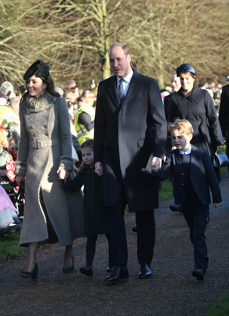 The Duke and Duchess of Cambridge and their children Prince George and Princess Charlotte arriving to attend the Christmas Day morning church service. [Photo: PA]