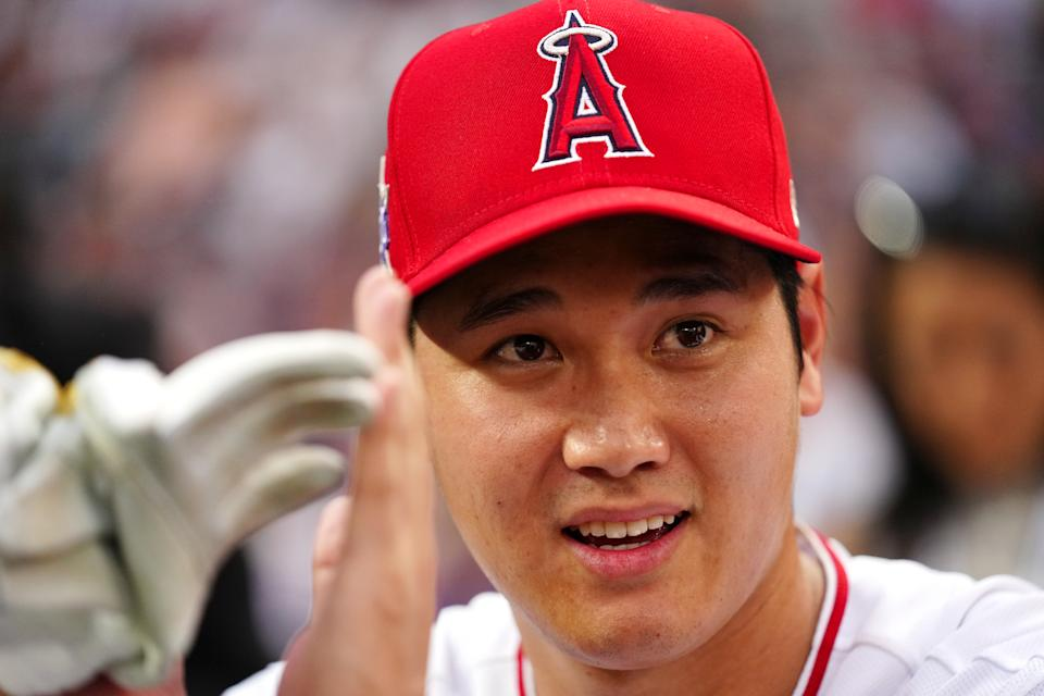 DENVER, CO - JULY 12:  Shohei Ohtani #17 of the Los Angeles Angels is seen during the 2021 T-Mobile Home Run Derby at Coors Field on Monday, July 12, 2021 in Denver, Colorado. (Photo by Daniel Shirey/MLB Photos via Getty Images)