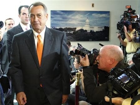 Boehner departs after a House Republican caucus meeting at the U.S. Capitol in Washington