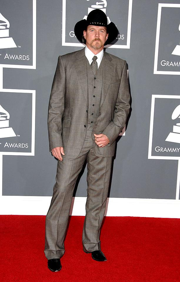 """Blah: Trace Adkins looked uncomfortable in his stuffy, monochromatic three-piece. Steve Granitz/<a href=""""http://www.wireimage.com"""" target=""""new"""">WireImage.com</a> - February 8, 2009"""