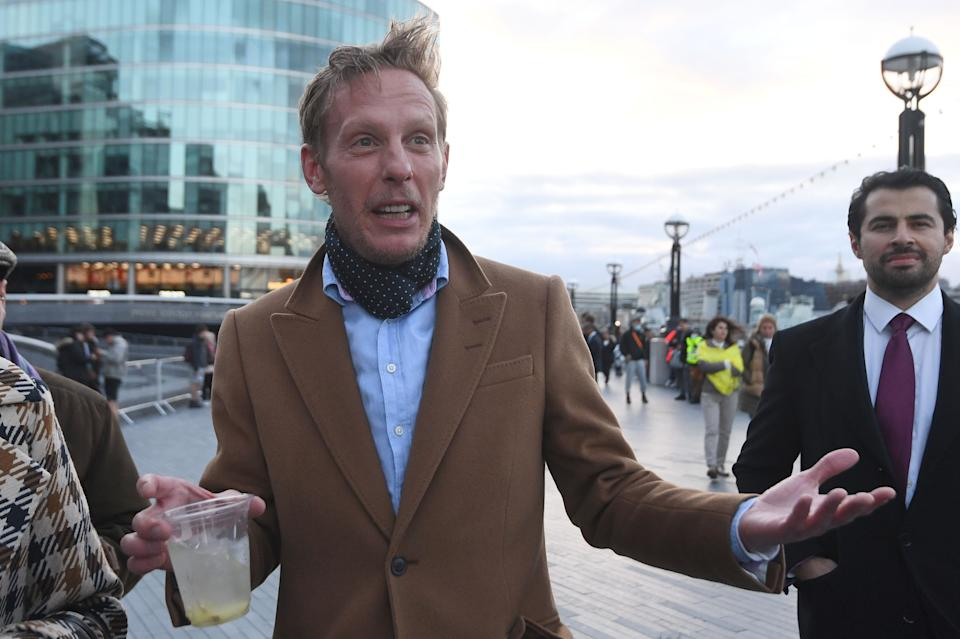 Leader of the Reclaim Party, Laurence Fox arriving at City Hall, London, for the declaration for the next Mayor of London. Picture date: Saturday May 8, 2021.