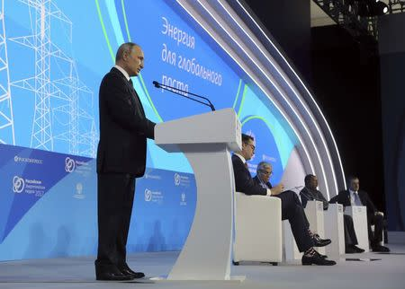 Russian President Putin attends the Russian Energy Week 2017 forum in Moscow
