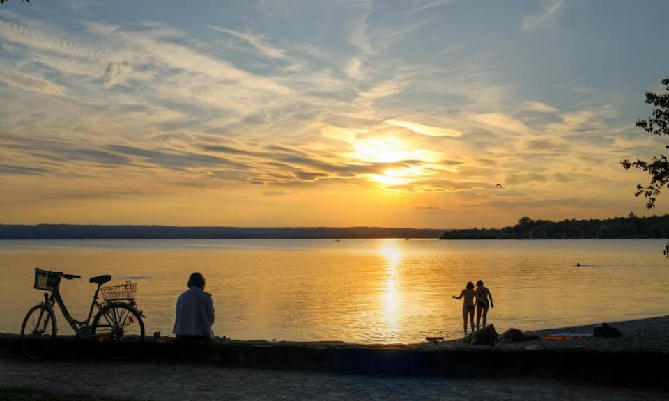 Sunset at Ammersee Lake, Herrsching am Ammersee.