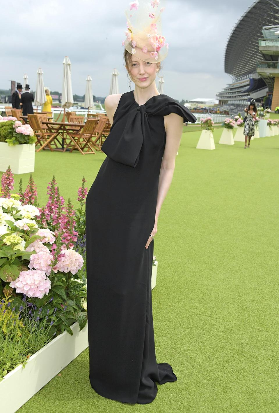 <p>Andrea Riseborough arrives at the private VIP suite, hosted by Longines, in the Royal Enclosure during Royal Ascot on June 17 in Ascot, England. </p>