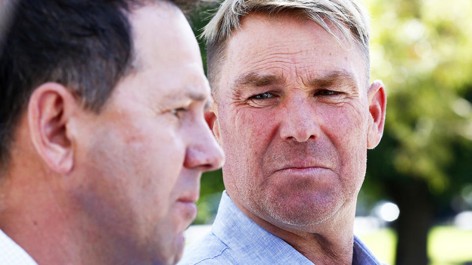 Shane Warne and Ricky Ponting, pictured here speaking to the media in Sydney in January.