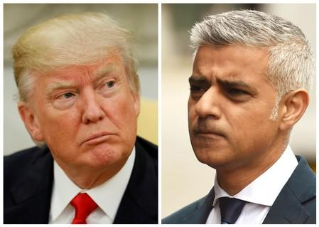 A combination photo shows U.S. President Donald Trump and Mayor of London Sadiq Khan