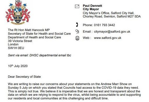 The signatories suggested the health secretary had lied when he said local councils had all the data they needed (Salford City Mayor's Office)