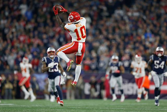 Hill is a pivotal offensive force for the Kansas City Chiefs, but has had many off-the-field troubles. (AP Photo)