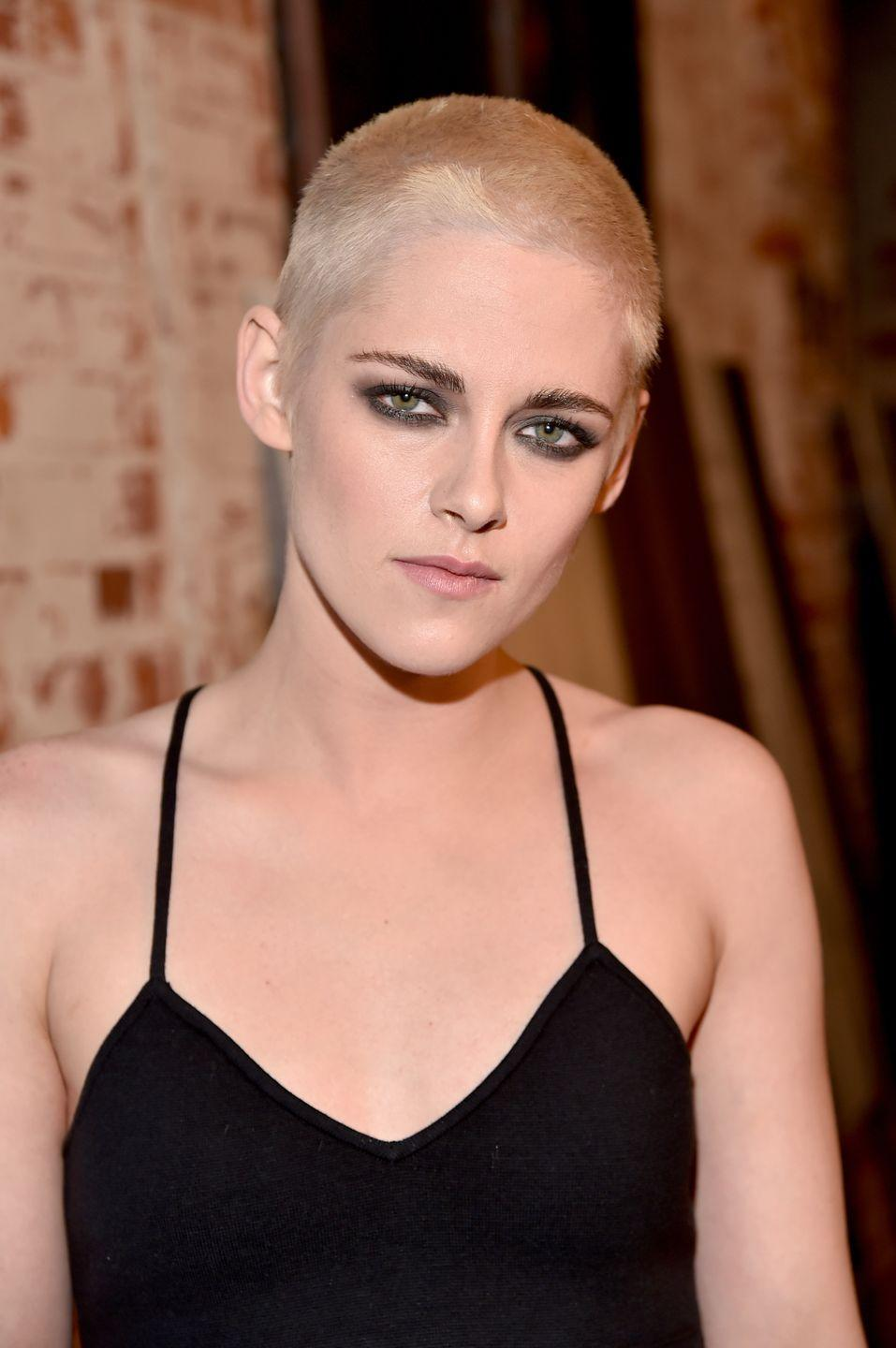 """<p>Kristen Stewart's decision to shave her head for her role in <em>Underwater</em> was entirely based on practicality. The actress explained that she volunteered for the chop because her character's costume involved a lot of helmets, making a buzz cut easier to deal with during filming. """"I mean, I'm not going to be able to have touch-ups once I put the helmet on, so I must shave my head,"""" she told <em><a href=""""https://www.youtube.com/watch?v=wwtIa1DLBhQ"""" rel=""""nofollow noopener"""" target=""""_blank"""" data-ylk=""""slk:The Today Show"""" class=""""link rapid-noclick-resp"""">The Today Show</a></em>. </p>"""