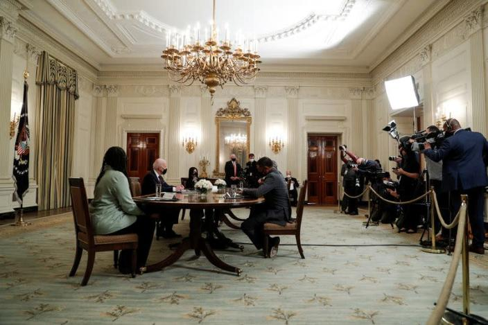 U.S. President Joe Biden hosts roundtable discussion on coronavirus aid legislation at the White House in Washington