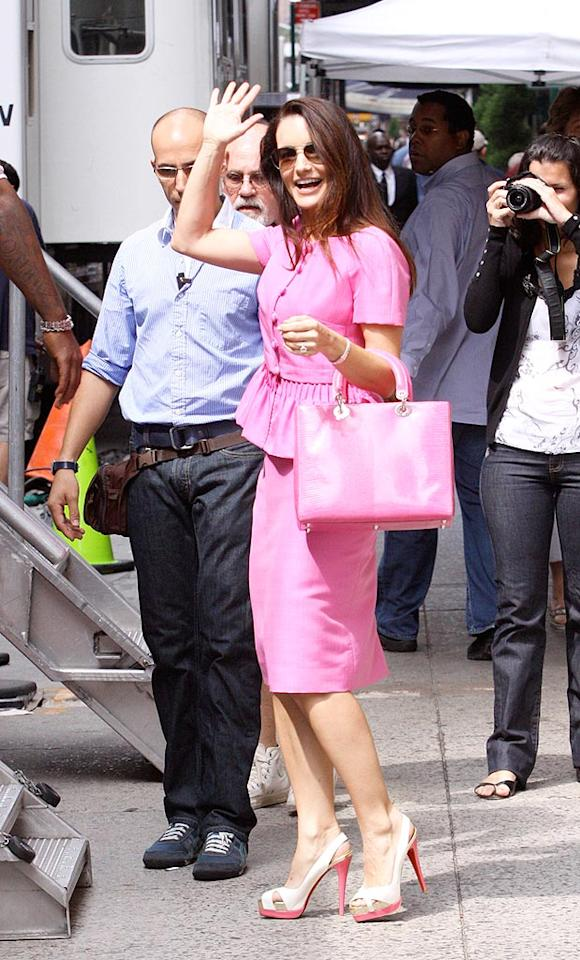 "Last, but not least ... Kristin Davis' perky princess Charlotte York, who rocked a conservative yet cute pink getup and the sexiest shoes we've seen in quite some time! <a href=""http://www.x17online.com"" target=""new"">X17 Online</a> - September 8, 2009"