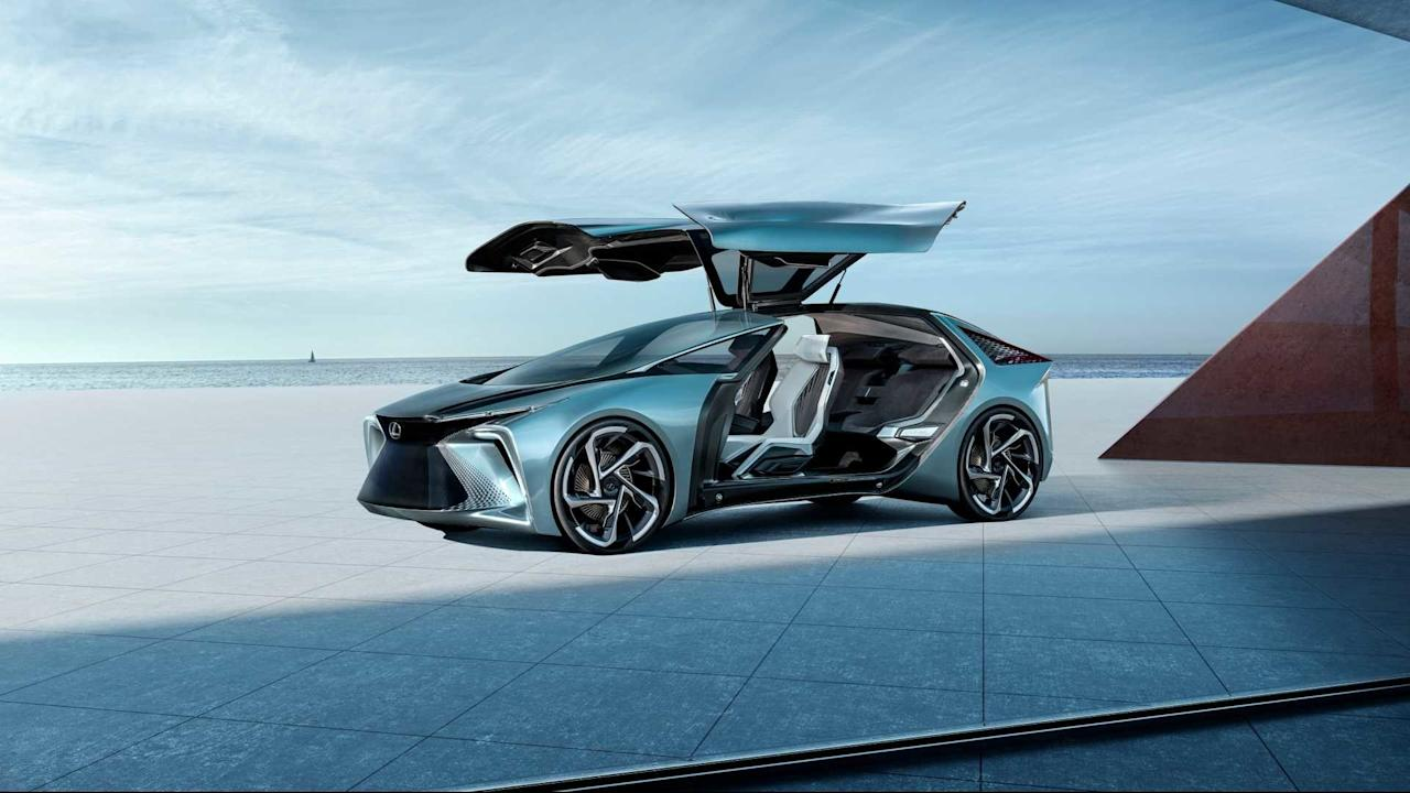 Attempting to reinvent the four-passenger sedan for the electric-powered and autonomous era, this Lexus luxury vehicle features four battery-powered motors, two giant gull-wing doors, and one deployable drone to carry your groceries.