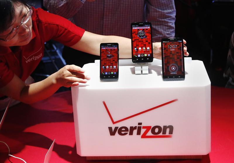 The Droid Mini, Droid Ultra and Droid Maxx are seen on display during the Verizon Wireless media event in New York