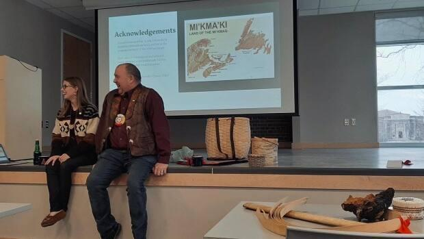 Councillor Jeff Purdy from the Acadia First Nation joined Creaser for a lecture at Acadia University.