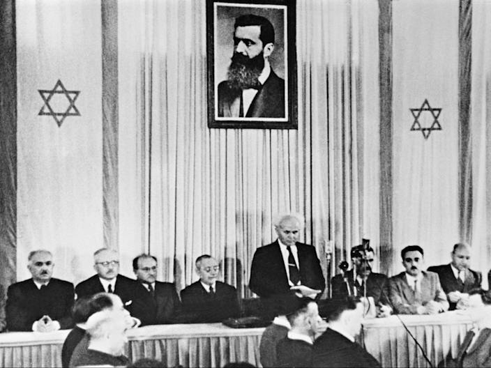 The first Israeli prime minister David Ben-Gurion officially proclaims the state of Israel in Tel Aviv in 1948 (AFP/Getty)