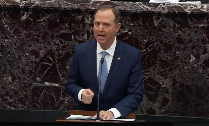 Lead manager House Intelligence Committee Chairman Adam Schiff (D-CA) speaks during opening arguments in the U.S. Senate impeachment trial of U.S. President Donald Trump. (Screengrab: via Yahoo News Video/ Sentate TV)