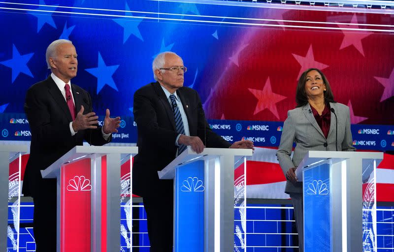Democratic U.S. presidential candidates Biden, Sanders and Harris participate in the fifth 2020 campaign debate at the Tyler Perry Studios in Atlanta, Georgia