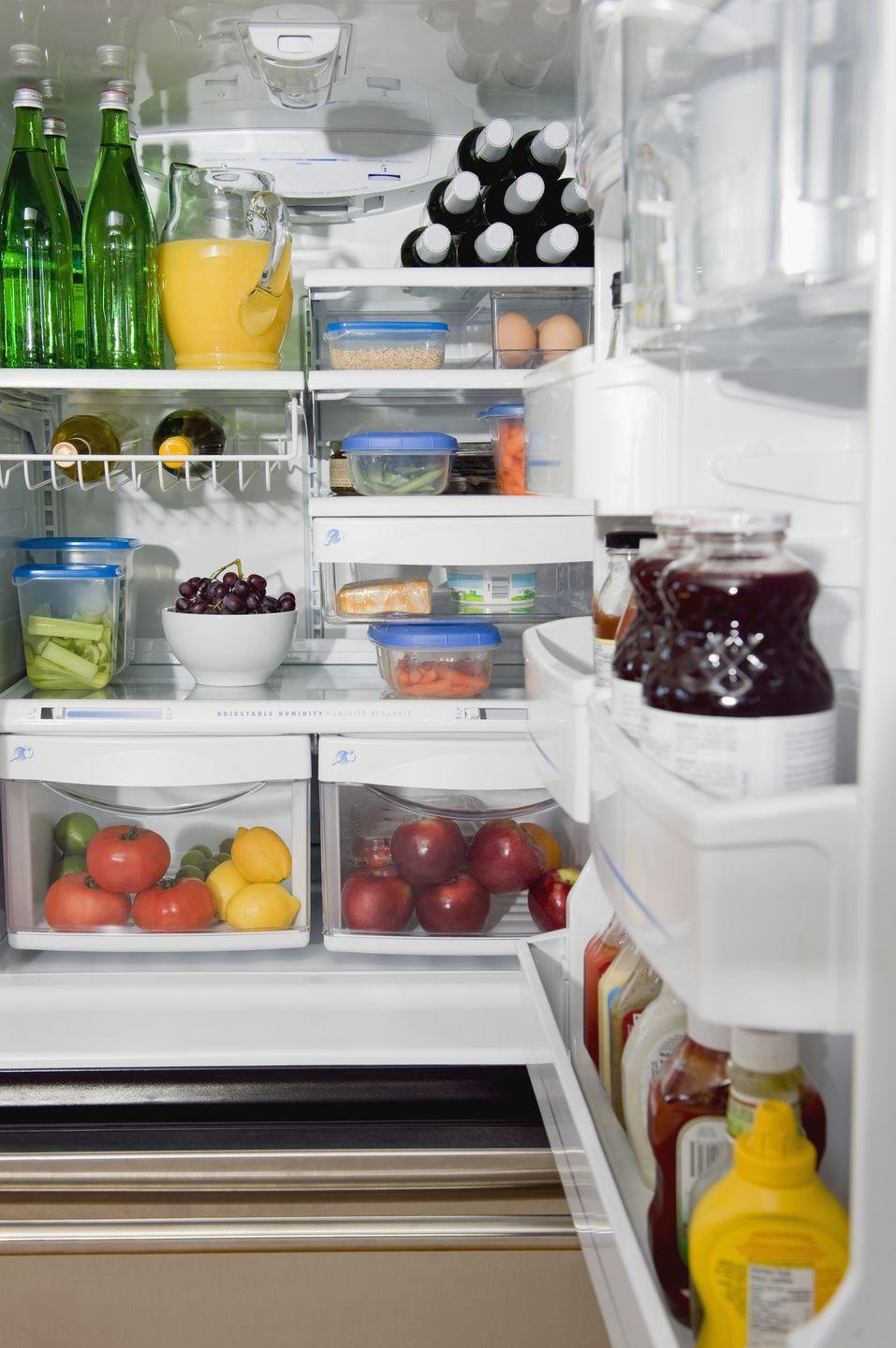 <p>Just as grocery stores have a designated place for different types of items — meats, dairy, snacks, etc. — so too should your fridge. Silberstein advises using clear bins in your fridge to keep everything in its designated place, and stacking the bins to take advantage of the height available on most refrigerator shelves. </p>