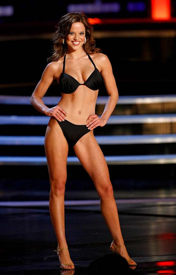 """Katie R. Stam, Miss Indiana, competes in the swimsuit competition during the <a href=""""/miss-america-countdown-to-the-crown/show/44013"""">2009 Miss America Pageant</a> at the Planet Hollywood Resort & Casino January 24, 2009 in Las Vegas, Nevada. Stam went on to be crowned the new Miss America."""