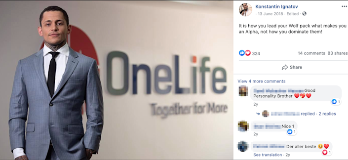 Screenshot of a photo of Ruja Ignatova's brother, Konstantin Ignatov, from his Facebook account. Behind him is a banner of OneLife, a known proxy of OneCoin.