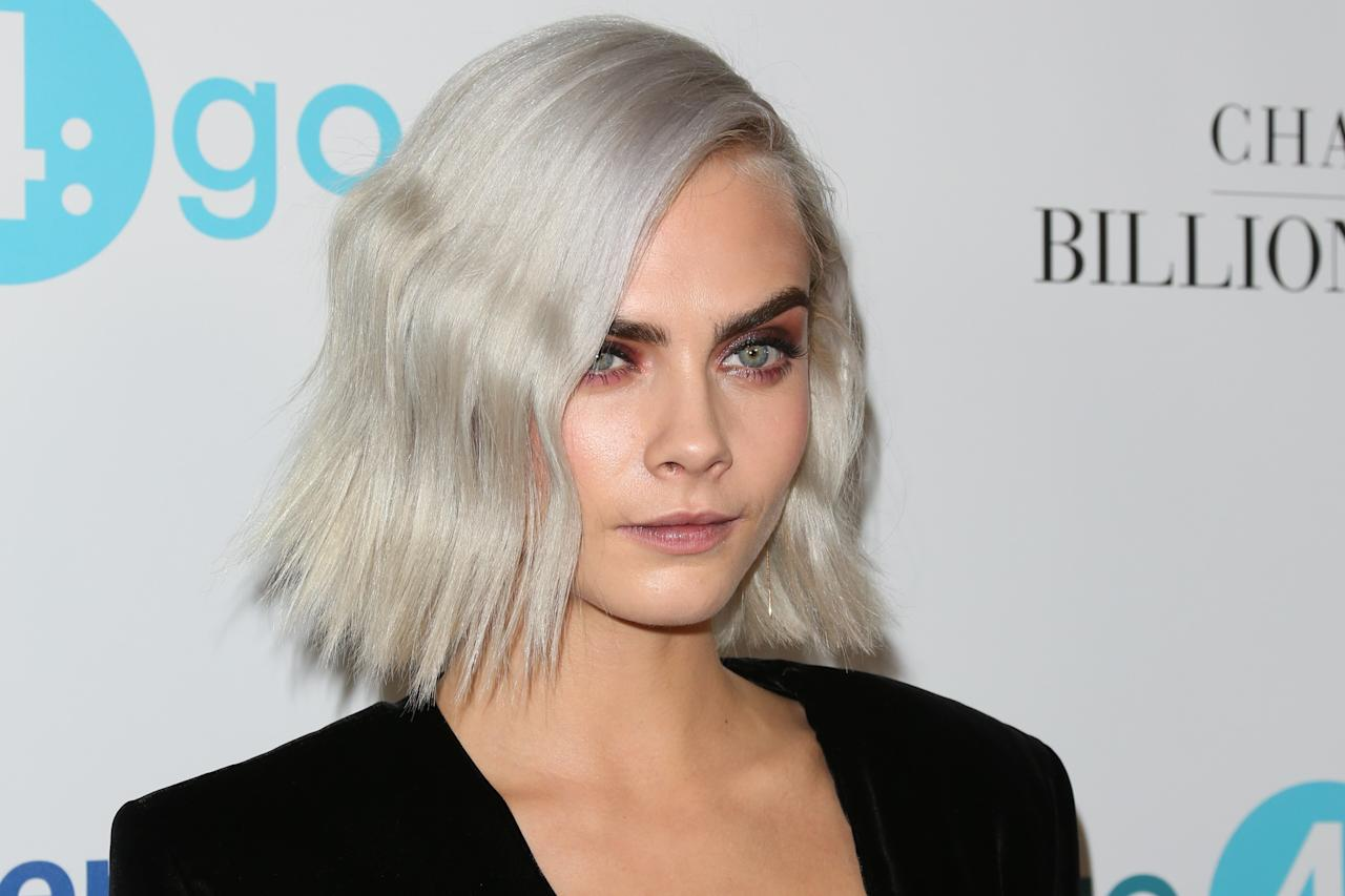 "<p>Tinged with gray, Cara's cropped bob (<a rel=""nofollow"" href=""http://www.glamour.com/story/cara-delevingne-met-gala-2017-bald-silver-head?mbid=synd_yahoobeauty"">pre-shave</a>) is the hair equivalent of a lightning strike.</p>"