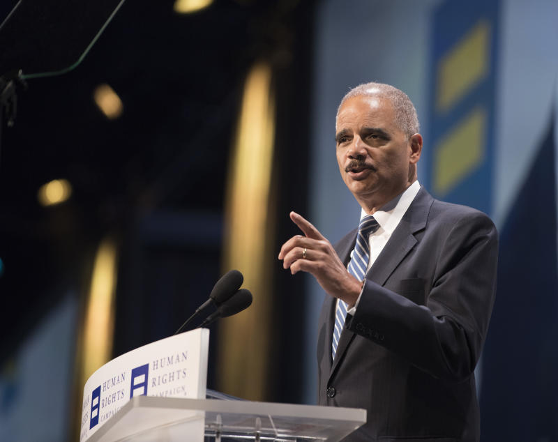 Former Attorney General Eric Holder speaks at the Human Rights Campaign 2018 National Dinner in Washington. (Kevin Wolf/AP)