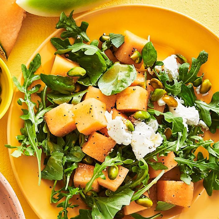 <p>Buy a melon that feels heavy for its size and smells slightly sweet. Picking a ripe one ensures the right balance of flavors in this arugula and goat cheese salad.</p>