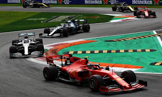 "<span class=""element-image__caption"">Charles Leclerc's Ferrari leads Lewis Hamilton's Mercedes during the F1 Italian Grand Prix at Monza.</span> <span class=""element-image__credit"">Photograph: Mark Thompson/Getty Images</span>"