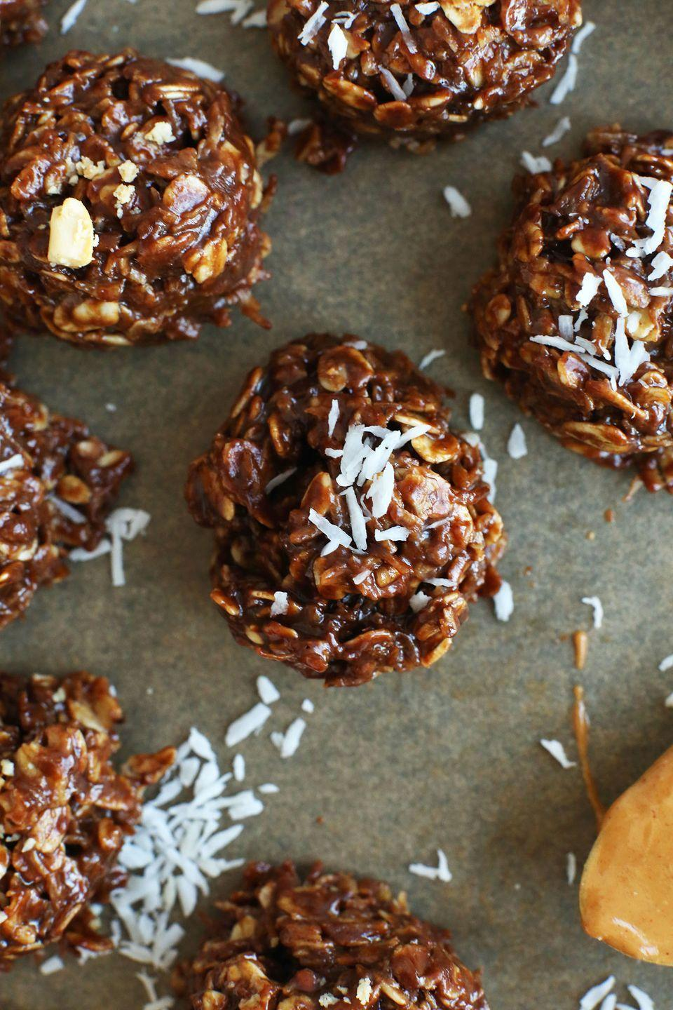 """<p>Shredded coconut is an absolute baller in the no-bake dessert world—and these cookies prove it.<br></p><p><a class=""""link rapid-noclick-resp"""" href=""""https://minimalistbaker.com/coconut-no-bake-cookies/"""" rel=""""nofollow noopener"""" target=""""_blank"""" data-ylk=""""slk:GET THE RECIPE"""">GET THE RECIPE</a></p><p><em>Per serving: 118 calories, 7.4 g fat (4 g sat), 12 g carbs, 24 mg sodium, 6.9 g sugar, 1.6 g fiber, 2.4 g protein</em></p>"""
