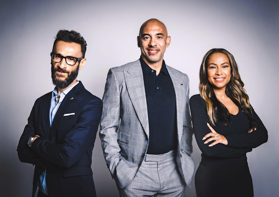 Recording Academy CEO Harvey Mason Jr. (center) has tapped Panos A. Panay and Valeisha Butterfield Jones to serve as co-presidents.