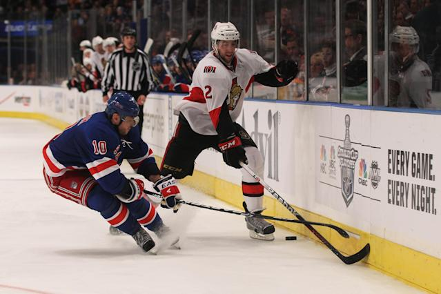 NEW YORK, NY - APRIL 26: Marian Gaborik #10 of the New York Rangers and Jared Cowen #2 of the Ottawa Senators vie for the puck in Game Seven of the Eastern Conference Quarterfinals during the 2012 NHL Stanley Cup Playoffs at Madison Square Garden on April 26, 2012 in New York City. (Photo by Bruce Bennett/Getty Images)