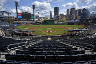 PNC Park hosts a National League baseball game between the Pittsburgh Pirates and the Cincinnati Reds in Pittsburgh, Sunday, Sept. 6, 2020. (AP Photo/Gene J. Puskar)