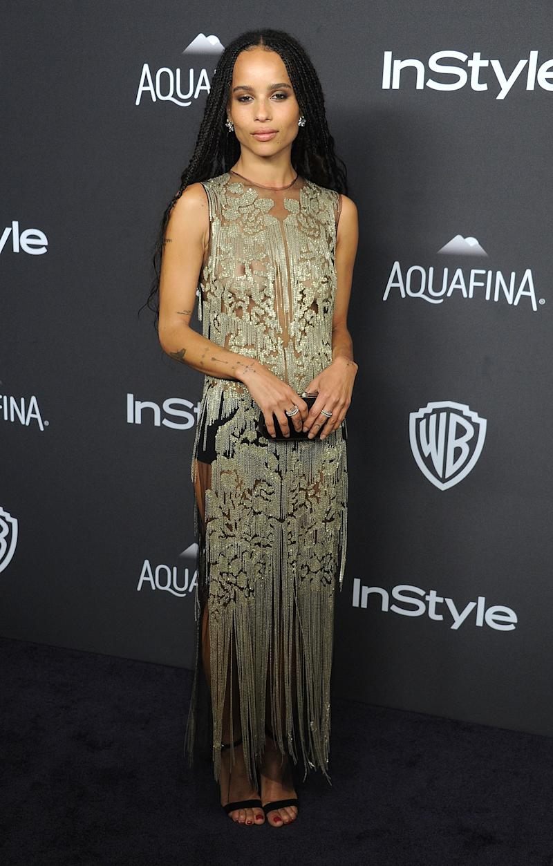 Kravitz arrives at the 2016 InStyle And Warner Bros. 73rd Annual Golden Globe Awards Post-Party at The Beverly Hilton Hotel on January 10, 2016.