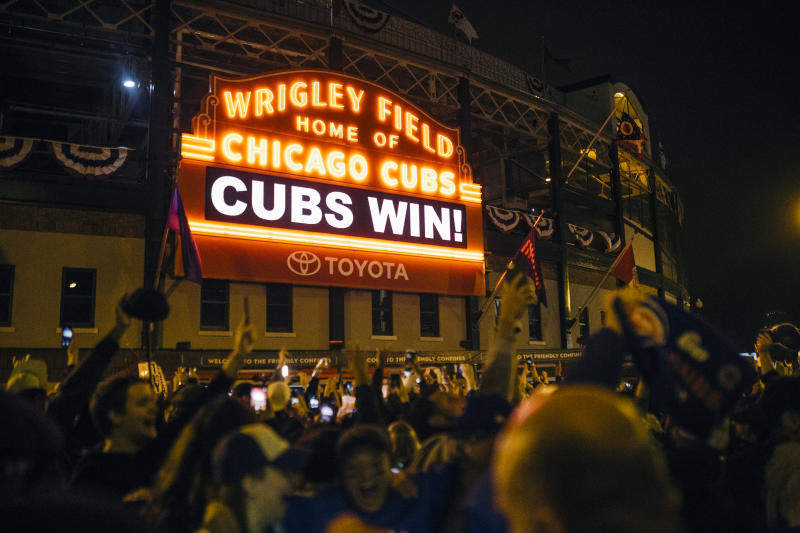 Cubs Win displayed on the main scoreboard of Wrigley Fieldin Chicago, on November 2, 2016. (Photo by Jim Vondruska/NurPhoto via Getty Images)