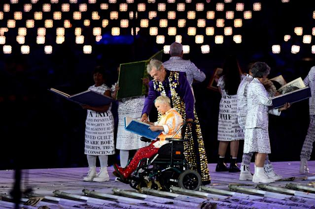 LONDON, ENGLAND - AUGUST 29: Sir Ian McKellen performs with Miranda during the Opening Ceremony of the London 2012 Paralympics at the Olympic Stadium on August 29, 2012 in London, England. (Photo by Gareth Copley/Getty Images)