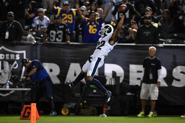 "With Marshawn Lynch sitting on the losing sideline, Marcus Peters pulled a celebratory ""Beast Mode"" crotch grab on a pick six Monday. (Getty)"