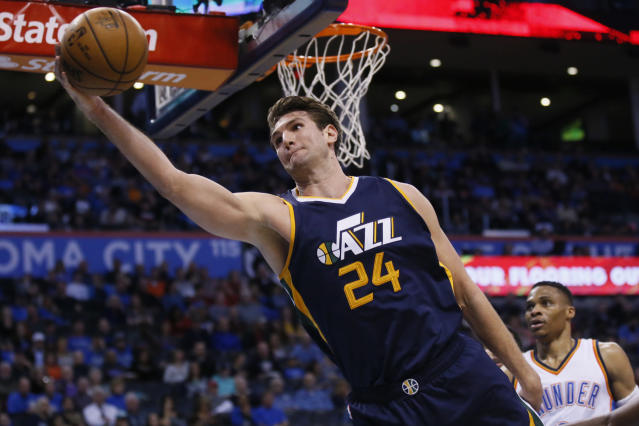 "<a class=""link rapid-noclick-resp"" href=""/nba/players/5209/"" data-ylk=""slk:Jeff Withey"">Jeff Withey</a> averaged 2.9 points and 2.4 rebounds in 51 games for the Jazz last season. (AP)"