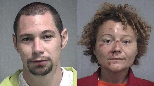 Aaron Seth Thomas, 31, and Megan Lynn Mondanaro, 35, were arrested on charges including DUI, exposing sex organs and unnatural and lascivious act. Source: Nassau County Sheriff's Office