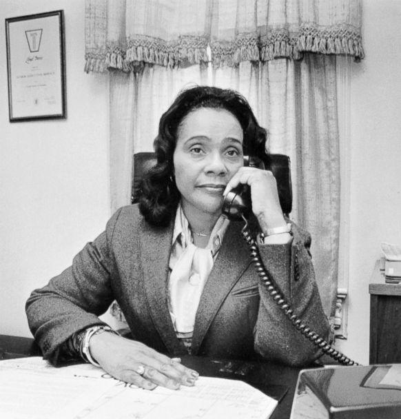 PHOTO: Coretta Scott King answers a telephone in this undated photo. (Bettmann Archive/Getty Images)