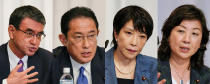 A combination of photos of candidates of the ruling Liberal Democratic Party for the upcoming presidential election speaks during a joint news conference at the party's headquarters in Tokyo, Sept. 17, 2021. The election is scheduled for Sept. 29. Contenders are left to right: Taro Kono, state minister in charge of administrative reform, Fumio Kishida, former foreign minister, Sanae Takaichi, former internal affairs minister, and Seiko Noda, former internal affairs minister, (Kimimasa Mayama/Pool Photo via AP)
